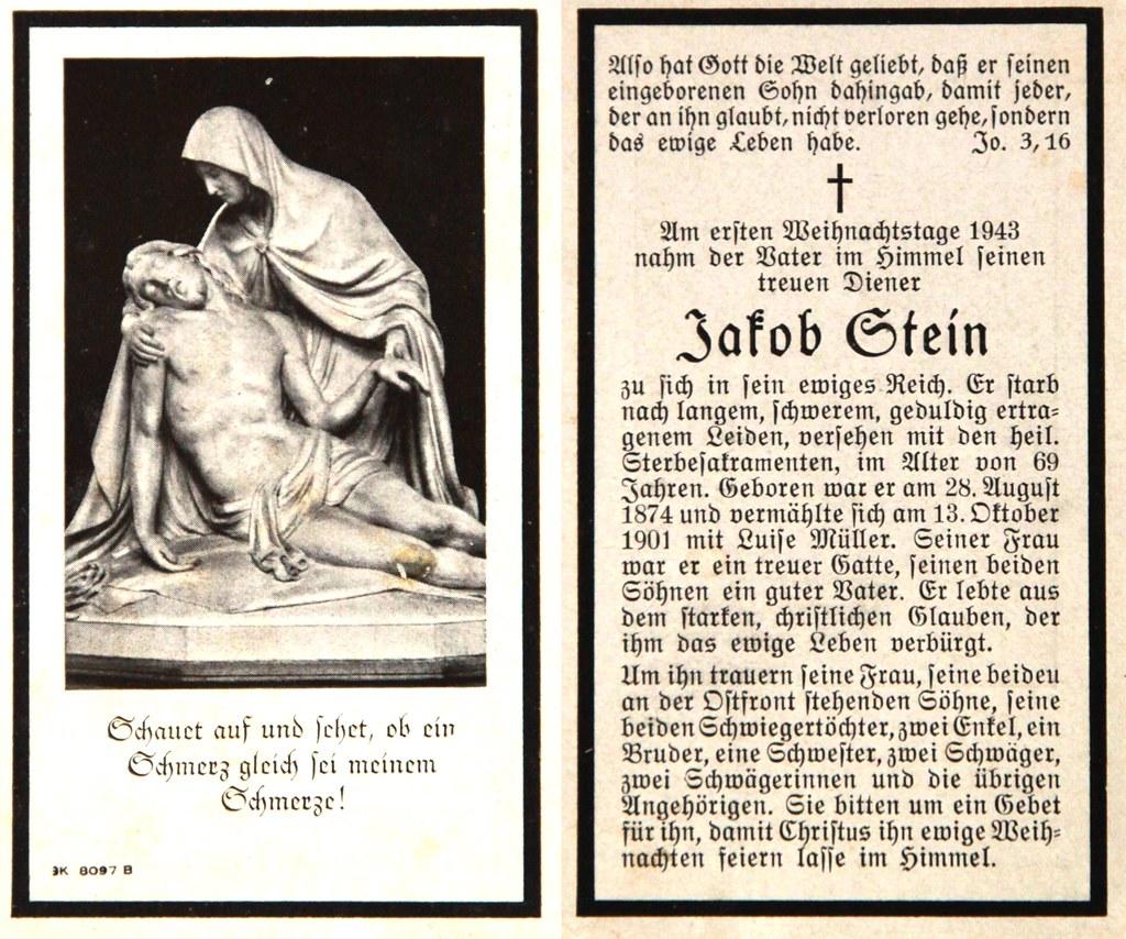 Totenzettel Stein, Jakob † 25.12.1943