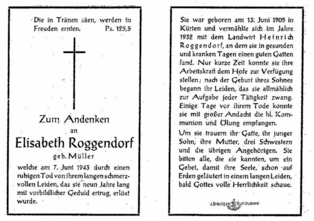 Totenzettel Müller, Elisabeth † 07.06.1943