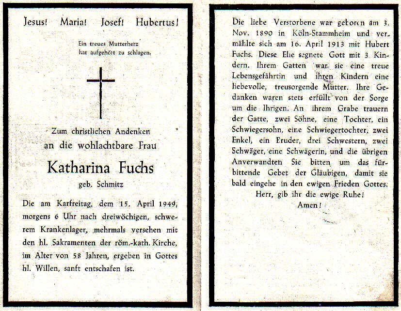 Totenzettel Fuchs, Katharina † 15.04.1949