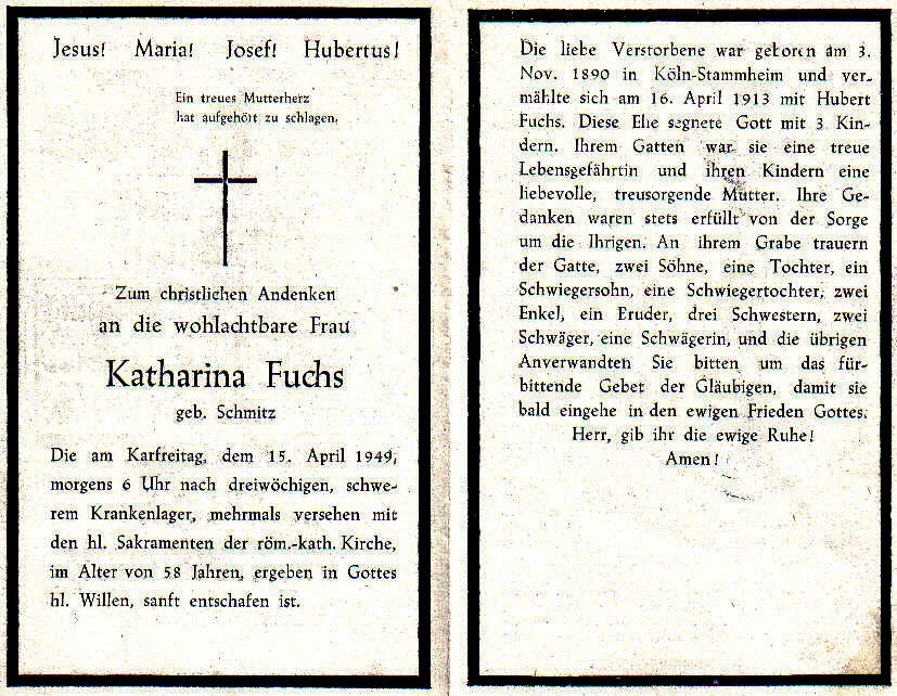 Totenzettel Fuchs, Katharina geb. Schmitz † 15.04.1949