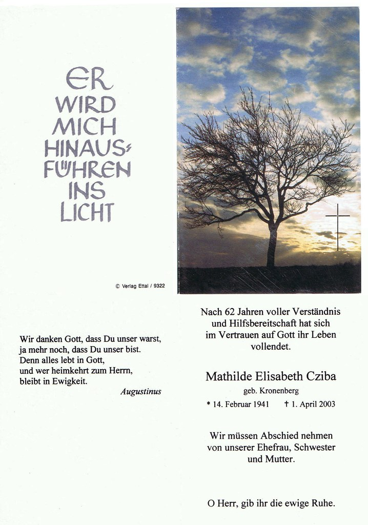 Totenzettel Kronenberg, Mathilde Elisabeth † 01.04.2003