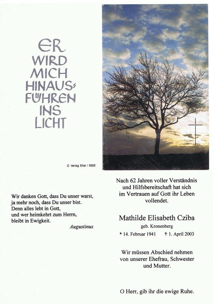 Totenzettel Cziba, Mathilde Elisabeth geb. Kronenberg † 01.04.2003