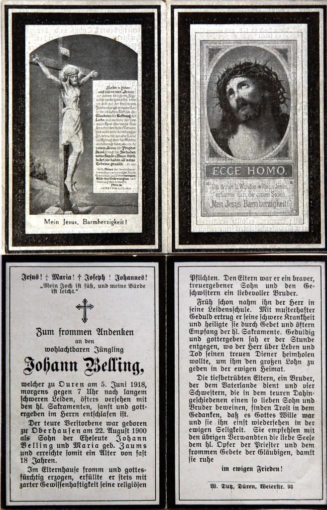 Totenzettel Belling, Johann † 05.06.1918
