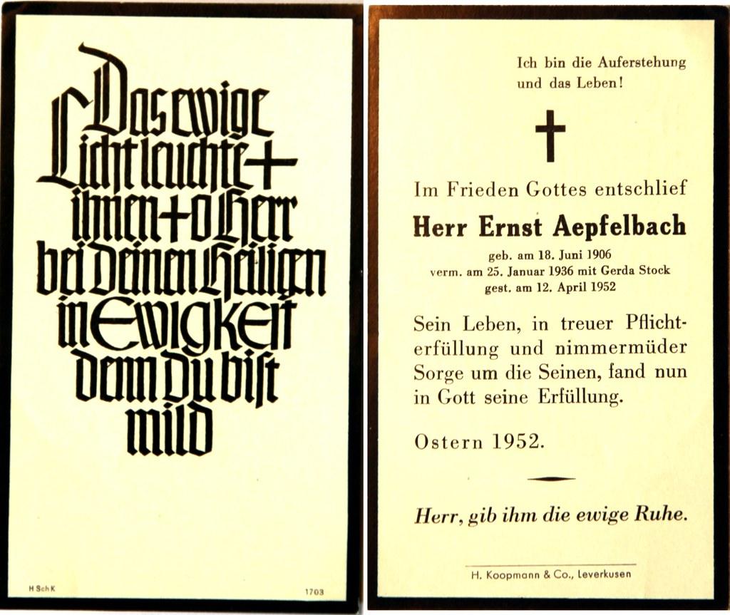 Totenzettel Aepfelbach, Ernst † 12.04.1952