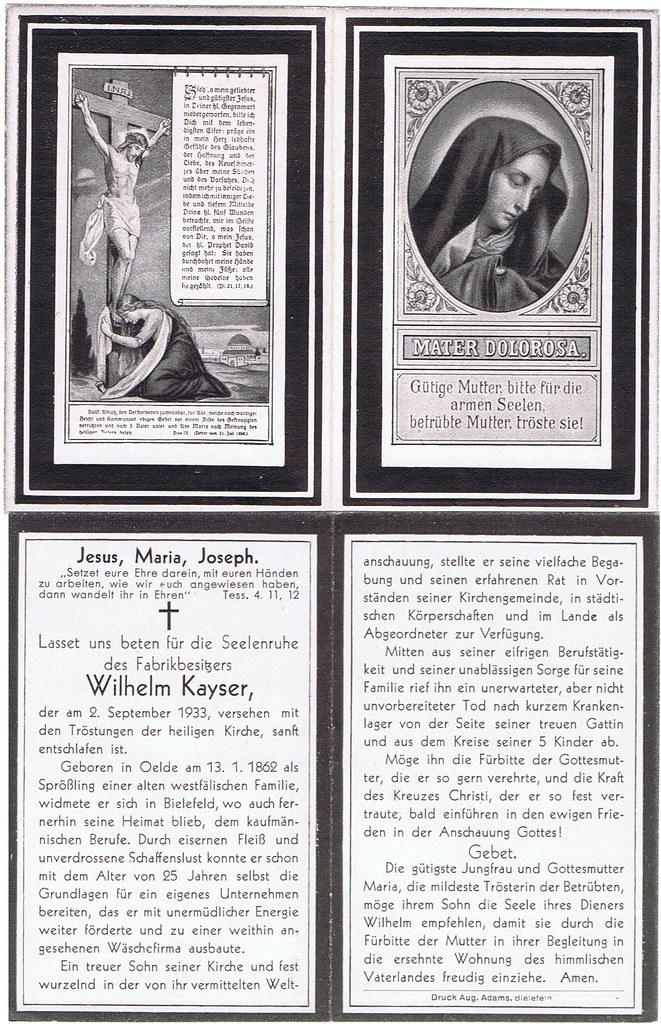 Totenzettel Kayser, Wilhelm † 02.09.1933