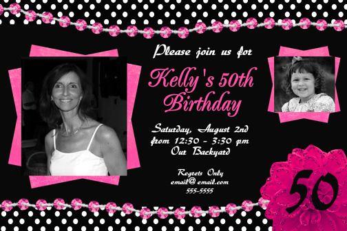 black white hot pink 50th birthday invitation polka dots b