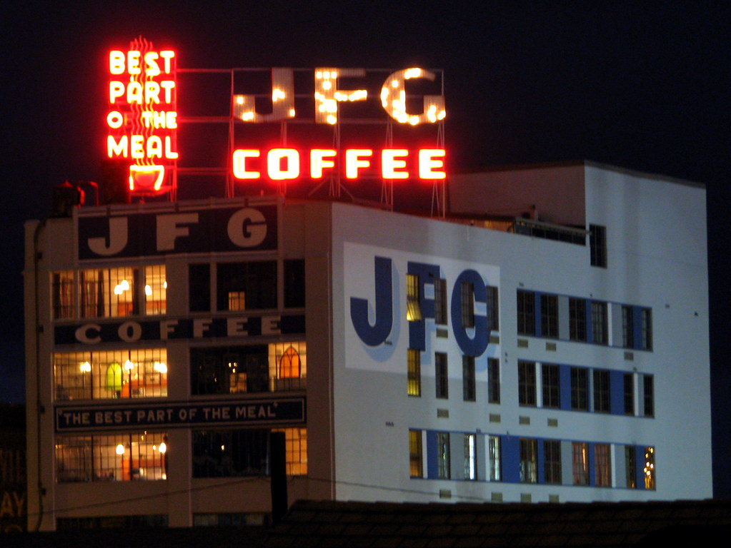 Jfg Coffee Sign At Night Jfg Coffee Was Started In