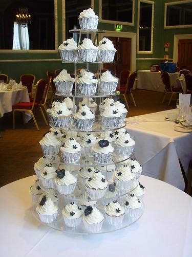 Black White And Silver Wedding Cupcake Tower Black