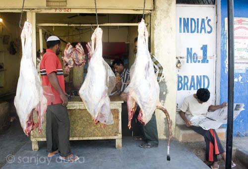 Beef shops in Hyderabad, India