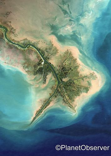 Mississippi River Delta Louisiana Us 2001 Satellite I