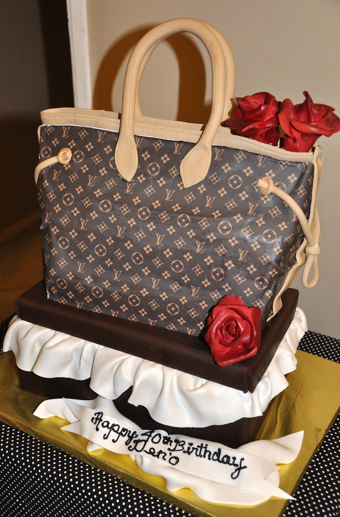 Louis Vuitton Purse Cake On Top Of A Shoe Box Seculpted