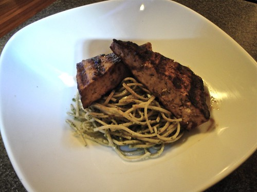 Grilled marinated tofu; soba noodles with spicy cilantro p ...