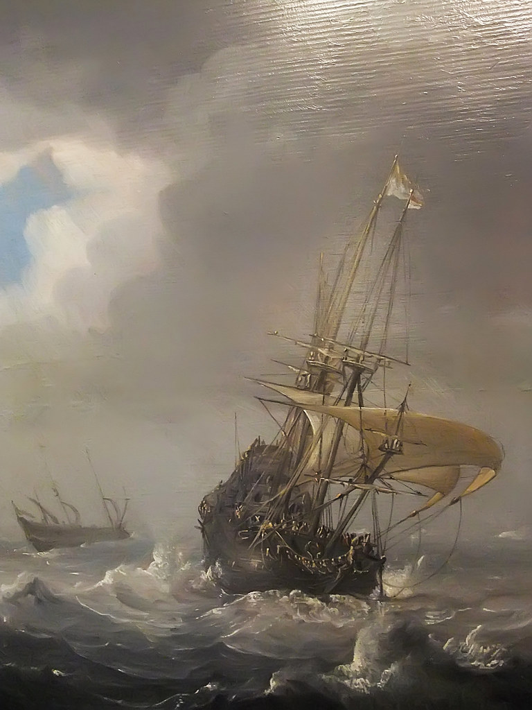 Detail of Shipping in Stormy Seas by Julius Porcellis 1610 ...