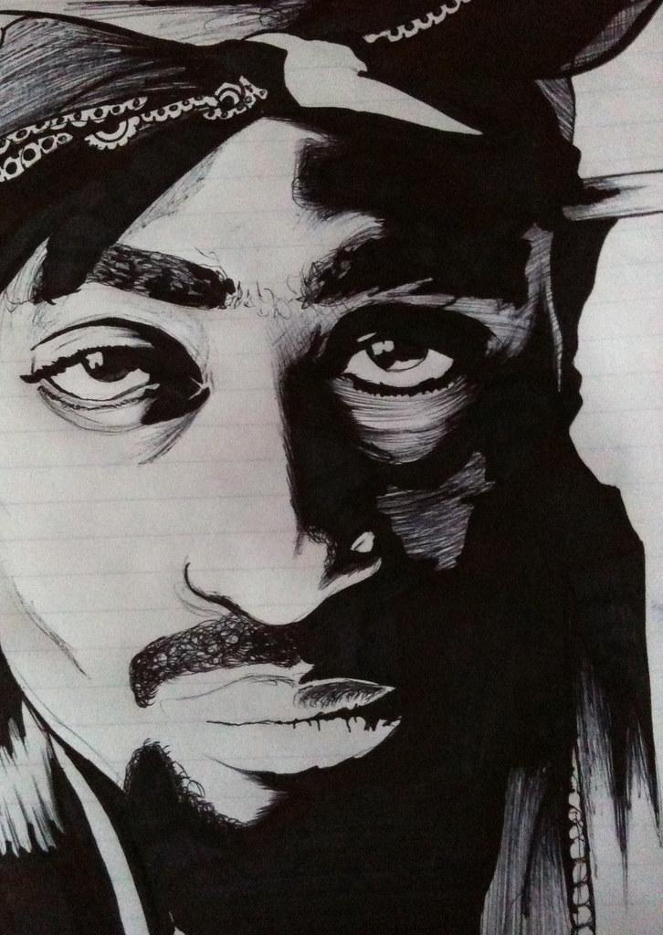 tupac shakur drawn in black biro n marker 2pac drawing