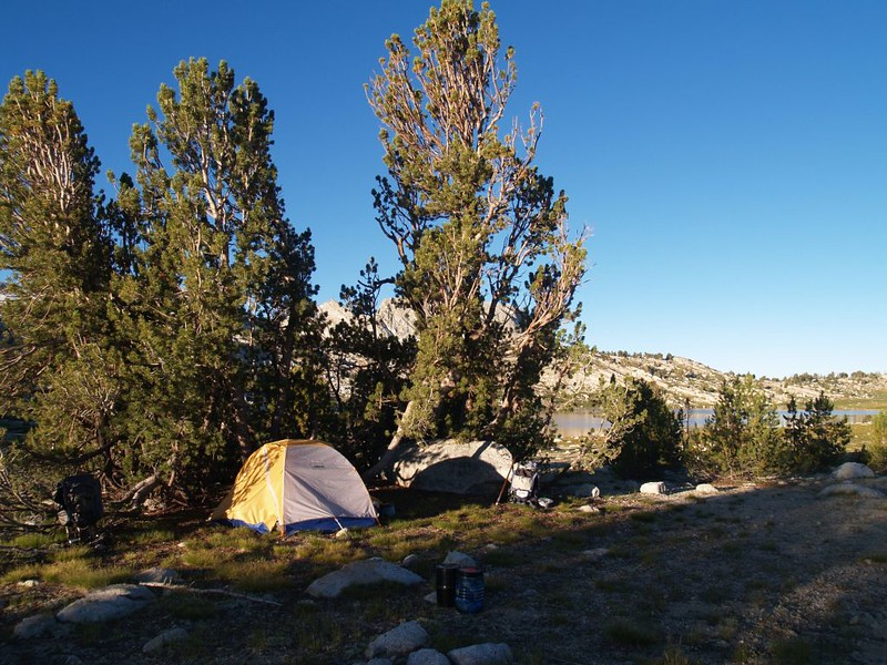 Our campsite near Evelyn Lake