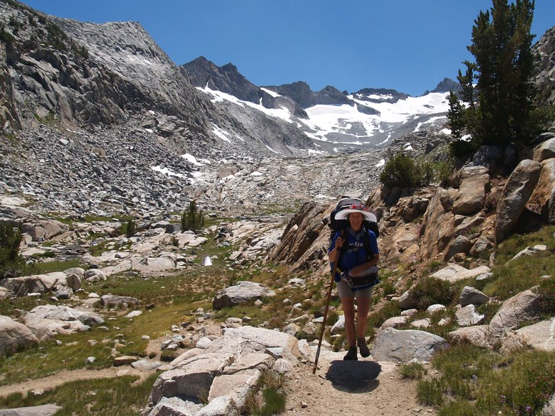 We continue on the PCT after crossing the stream, with the Lyell Glacier in the distance