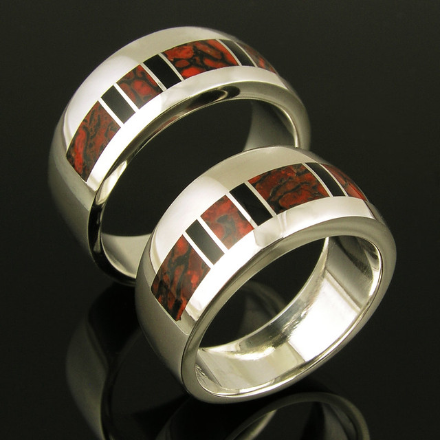 Dinosaur bone and black onyx sterling silver wedding ring set