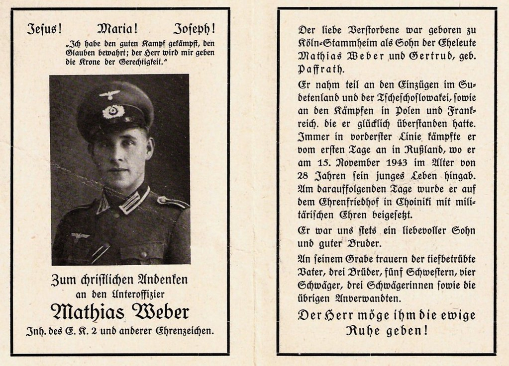 Totenzettel Weber, Mathias † 15.11.1943
