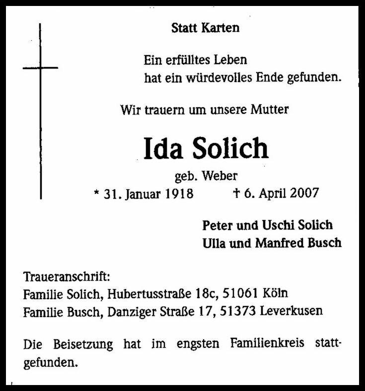 Totenzettel Solich, Ida † 06.04.2007