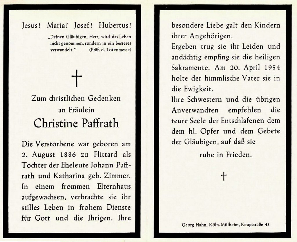 Totenzettel Paffrath, Christine † 20.04.1954