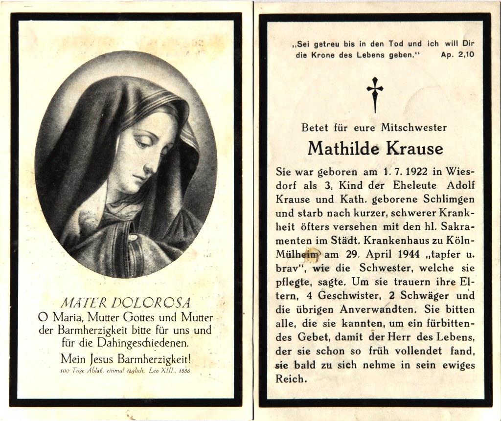 Totenzettel Mathilde, Krause † 29.04.1944
