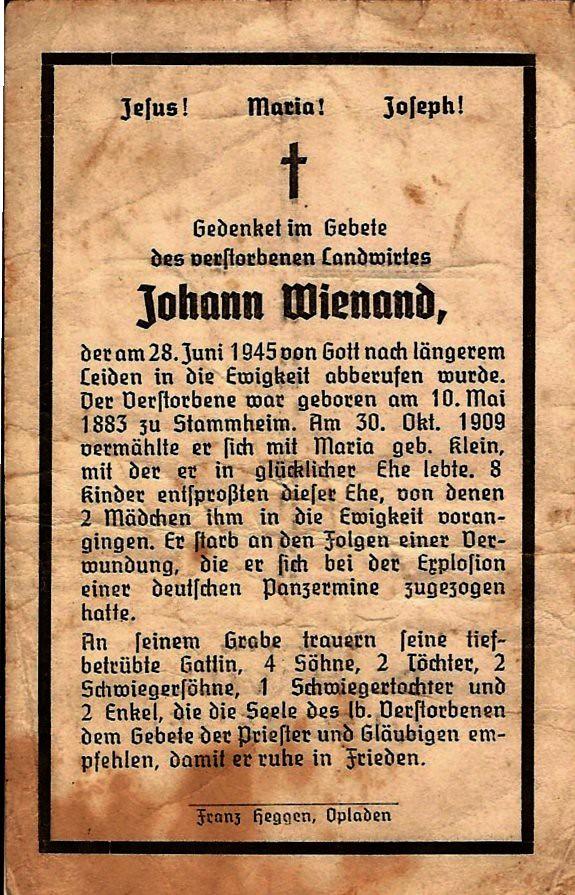 Totenzettel Winand, Johann † 28.06.1945
