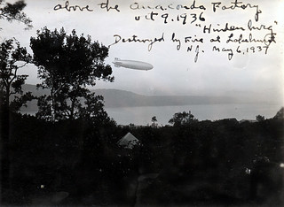 "Zeppelin ""Hindenburg"" over Hastings-on-Hudson in 1936 