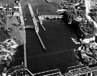 Hiram M. Chittenden Locks, Lake Washington Ship Canal aerial view, Seattle, Washington | by UW Digital Collections