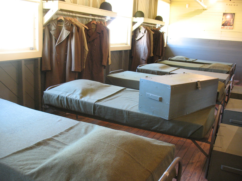 Barracks Bed with footlocker_3054 | The men slept head to ...