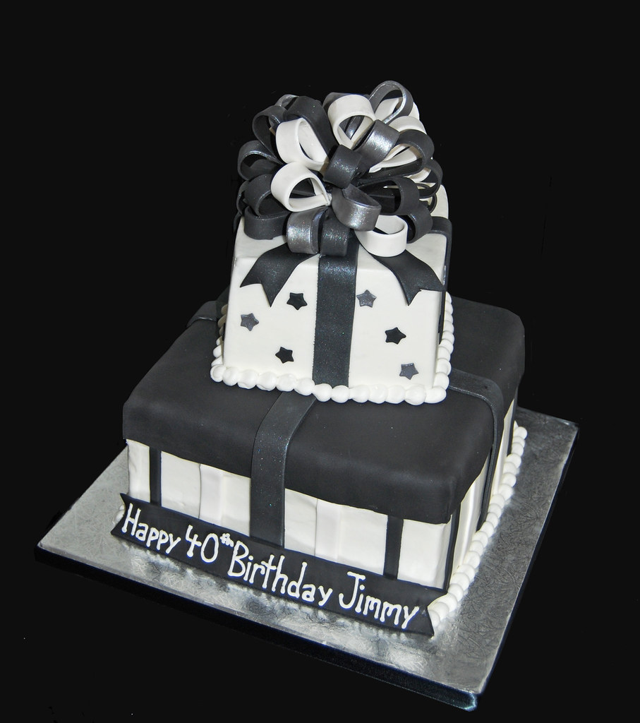 40th birthday two tier package cake black white and silver for 21st birthday decoration packages