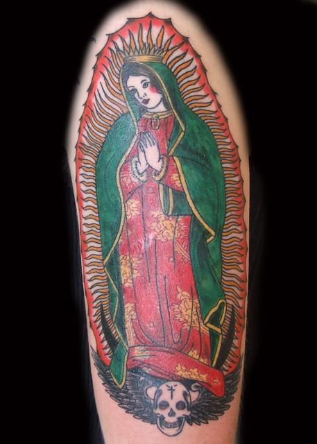 Old school virgen de guadalupe tattoo paulo madeira for Virgen de guadalupe tattoo