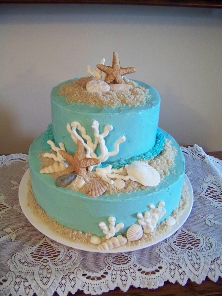 August Cakes 006 Allis Birthday Cake Gumpaste Seashells Flickr