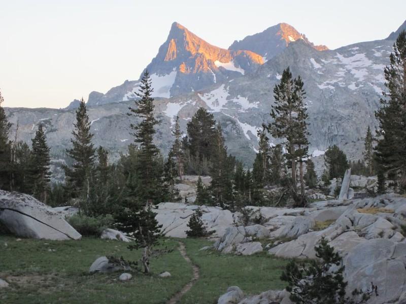 Sunset light on Banner Peak and Mount Ritter