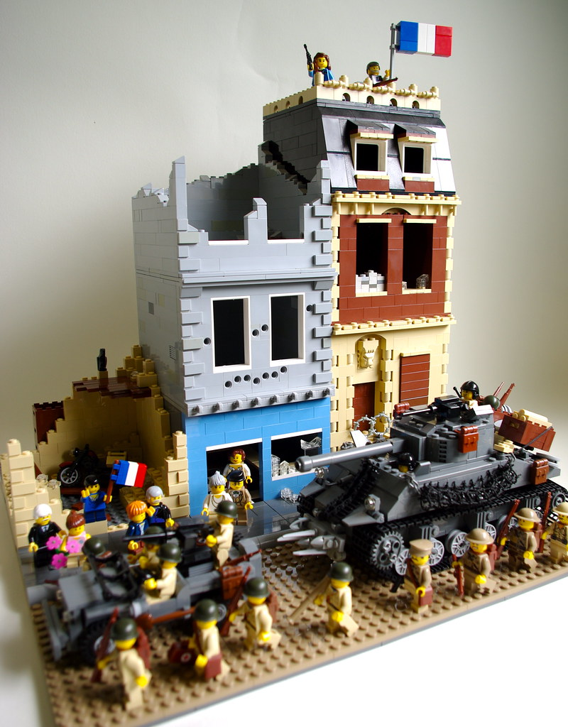 The liberation of cherbourg 1 allied troops march into for Siege lego france