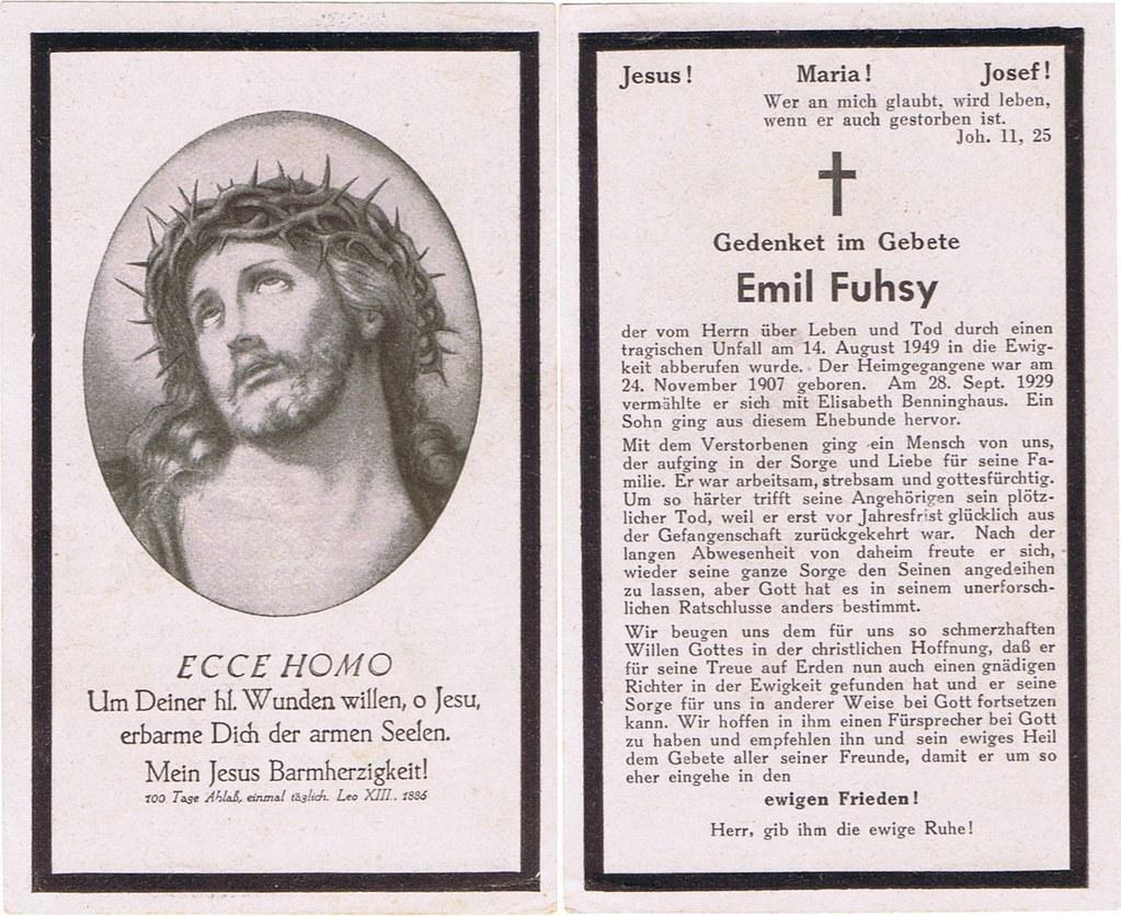 Totenzettel Fuhsy, Emil † 14.08.1949