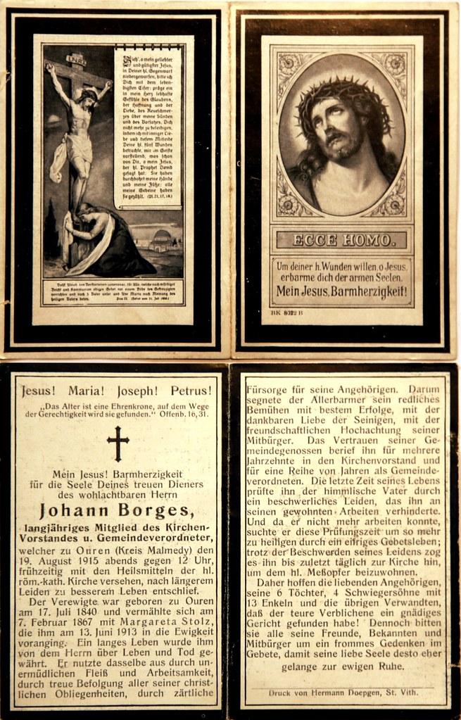 Totenzettel Borges, Johann † 19.08.1915