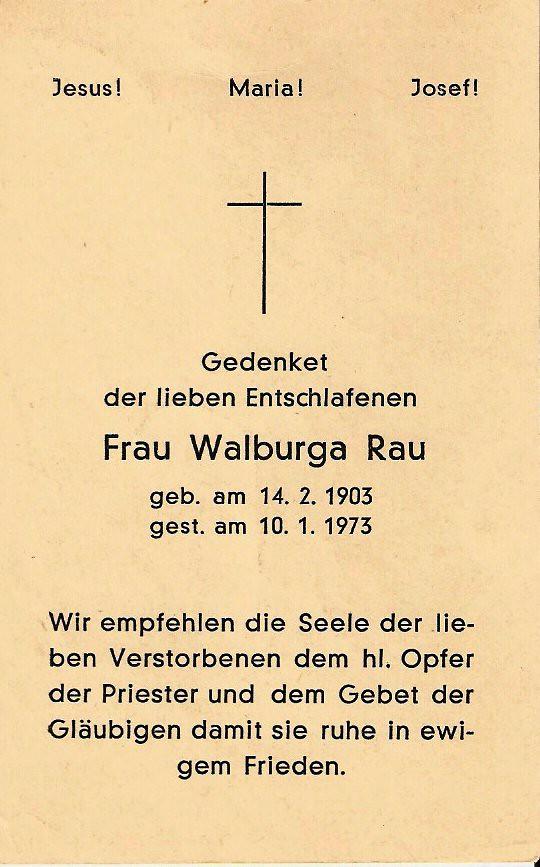 Totenzettel Becker, Walburga † 10.01.1973