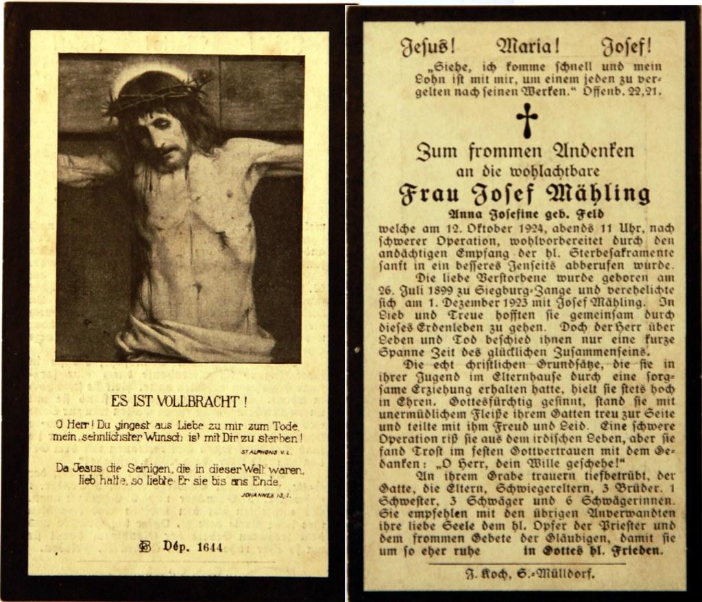 Totenzettel Mähling, Anna Josefine † 12.10.1924