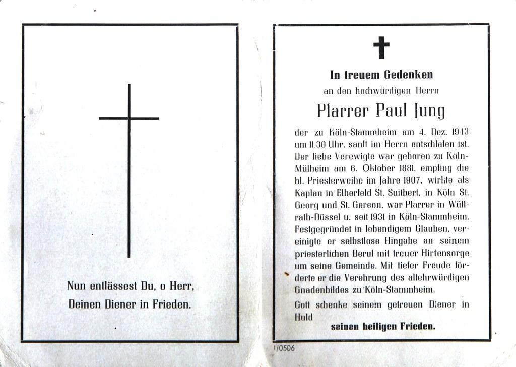 Totenzettel Jung, Paul - Pfarrer von Stammheim