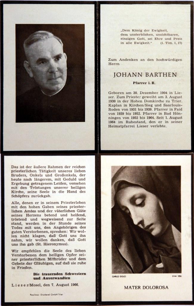 Totenzettel Barthen, Johann - Pfarrer † 07.08.1966