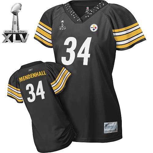 ebbb66649fd ... Pittsburgh Steelers #34 Rashard Mendenhall Black Women's Field Flirt  Super Bowl XLV Embroidered NFL Jersey