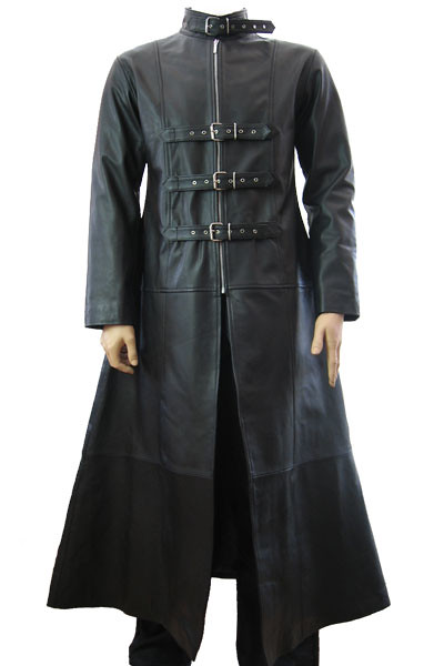 Mens Long Black Gothic Trench Buckled Coat This Full