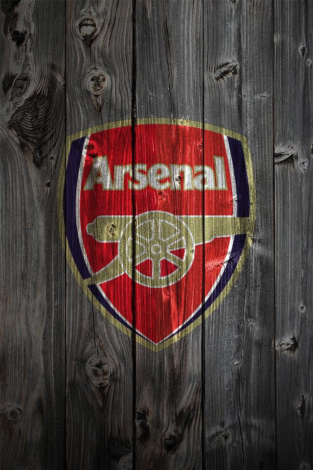 arsenal iphone 4 background logo on wood background