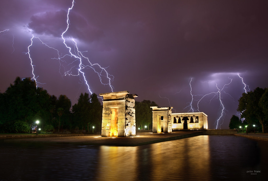 by sadaiche peter madrid temple de debod with lightning by sadaiche peter