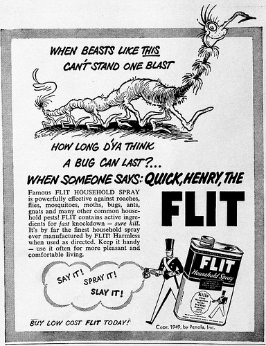 Quick Ads For Beauty Product Blusher Oneminutebriefs: Ted Geisel/Dr. Seuss Flit Ad 1950