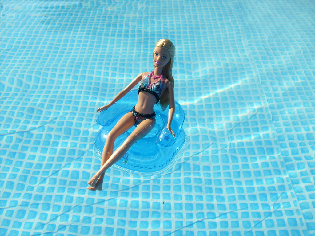 barbie in my swimming pool it 39 s too hot to work flickr. Black Bedroom Furniture Sets. Home Design Ideas
