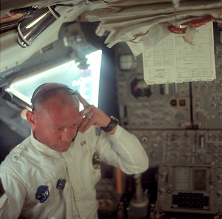 Buzz Aldrin during their initial inspection | by NASA Goddard Photo and Video