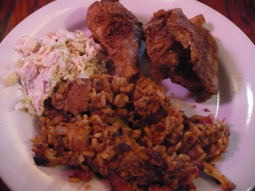 Fried chicken, slaw, rabbit and sausage jambalaya | by Michael Dietsch