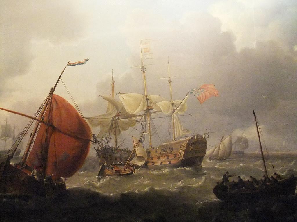 British Man O War With Dutch Sailing Vessels In A Choppy S