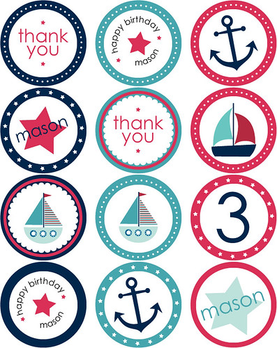 Nautical Party Stickers + Cupcake Toppers | by blush printables